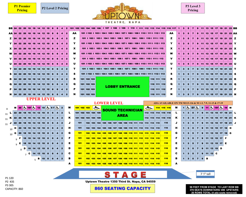 Seating Chart | Uptown Theatre Napa